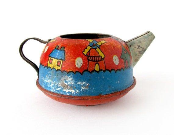 RESERVED for Tara - Dutch Teapot - Tin Toy Teapot With Windmills