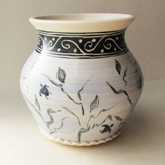 Sea Turtle Swimming Vase Wheel Thrown Pottery