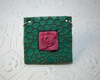 Bright Pink Flower in a Turquoise Patina Textured Frame - Pendant or Focal Piece for your design