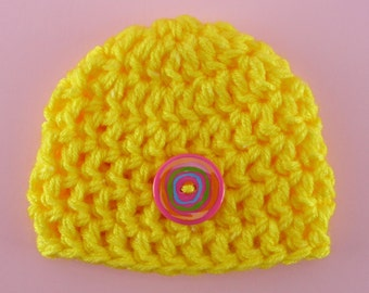 BABY BEANIE HAT Bright Yellow Newborn Photo Prop Crochet Girl Spring Summer Baby Shower Gift