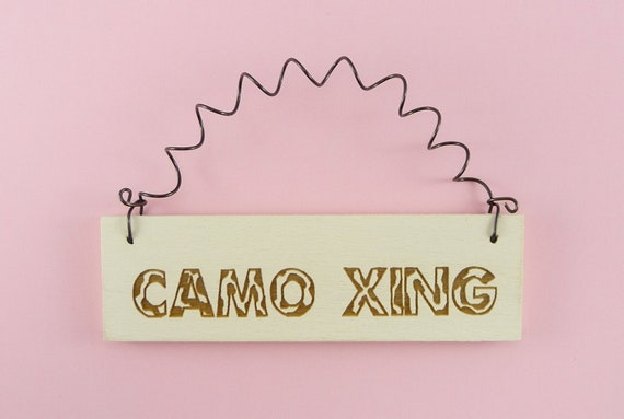 LITTLE SIGN Camo Xing - Wooden Laser Engraved Military Army Navy Air Force Marines Hunting Camouflage Crossing