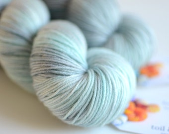Isa - Hand Dyed Yarn - Sock Yarn - Merino Cashmere Nylon - Light Gray and Aqua - Runes - Norse Mythology