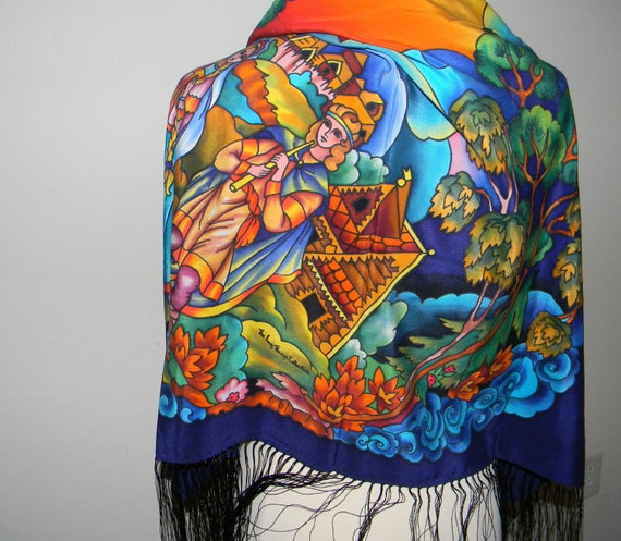 Vintage silk scarf, shawl, wrap, hand painted, made in Russia, Amazing Colors