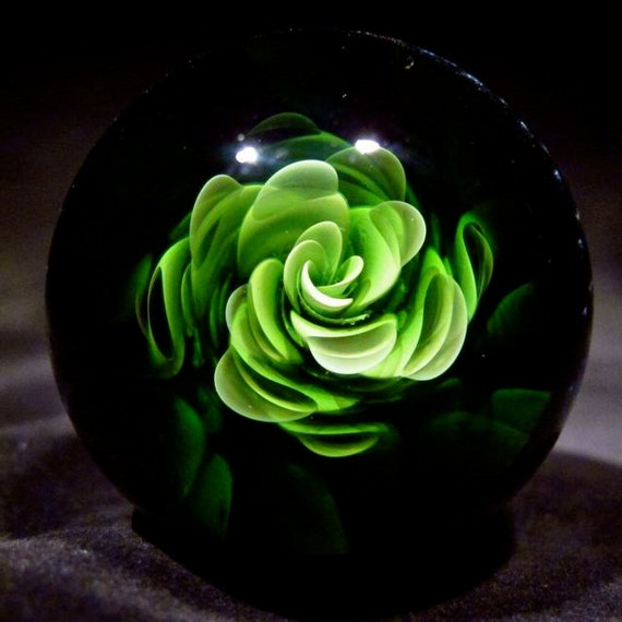 Green Bloom Over Galaxy Marble by Starroots Glass Design