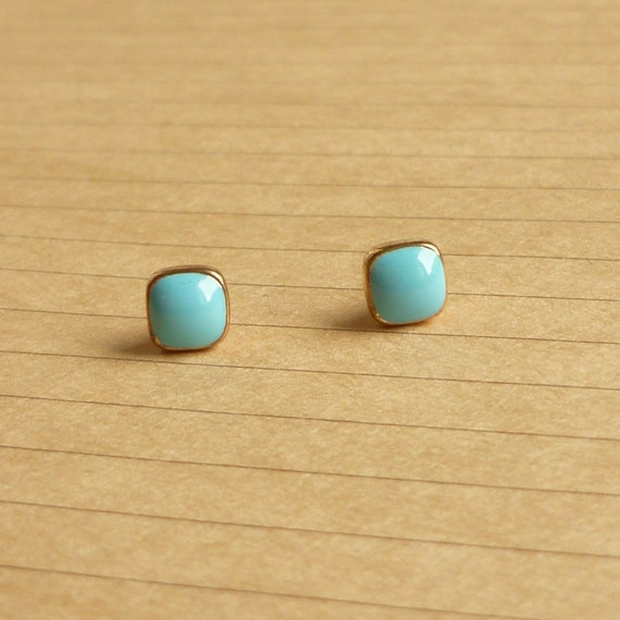 Blue Square - Turquoise Blue Enameled on Small Square Gold Setting Ear Studs - gift under 10 - 5 mm