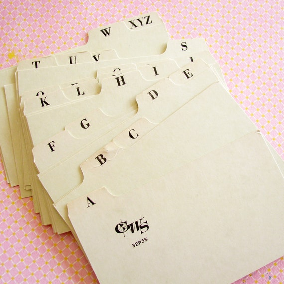 Divide & Conquer...Vintage Alphabetical Index Tab Cards