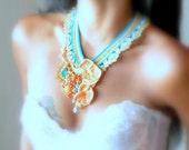 Crochet statement necklace, The atraction, fiber art jewelry