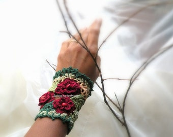 Crochet, fiber art, bracelet, red wine roses, irish crochet lace