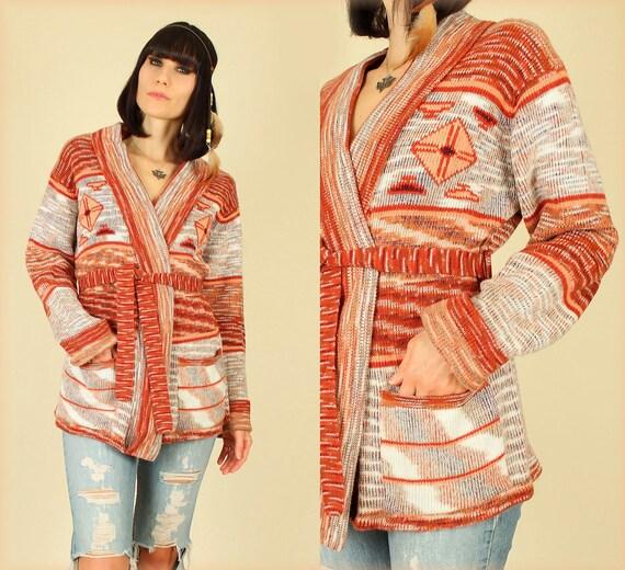 70's Vintage Hippie Navajo Space Dye Wrap Sweater