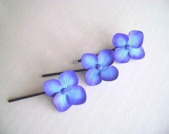 Weddings Hair Fascinator Bridal Bridesmaid hair Pins Blue-Purple Hydrangea Hair Pin Set of 3 Made to Order