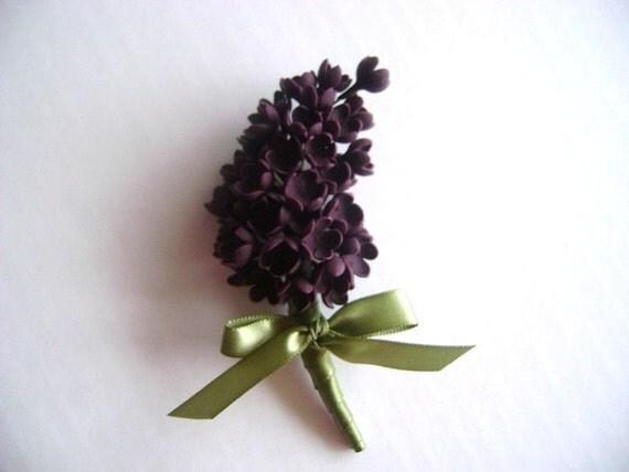 Lilac Wedding Boutonniere. Groomsmen