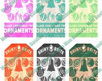 Digital Printable Sheet of Vintage Retro Shiny Brite Shipping Tags Collage Sheet - DIY Printable - INSTANT DOWNLOAD