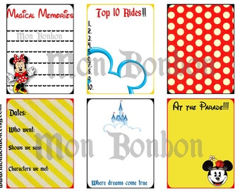 Six Digital Disney Journal Cards - Perfect for Project Life Inserts - DIY Printable - INSTANT DOWNLOAD