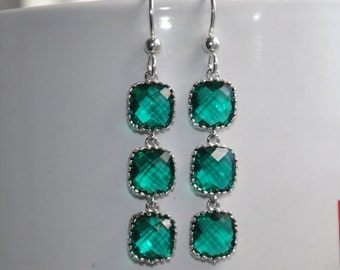 Emerald Earrings, Sterling Silver Earrings, Dangle Earrings, Bridal Jewelry,  Green Dangle Earrings,  Weddings Earrings