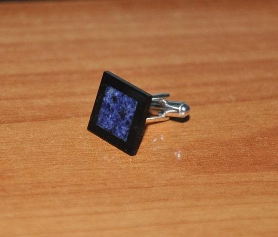 Cuff links-Sodalite, Black Onyx, silver- Blue and Black, gemstone