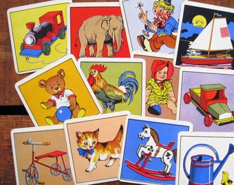 Vintage Square Snap Cards - Set of 12 - Toys and Animals