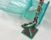 Fantastic Turquoise, Teal and Copper Polymer Clay Necklace