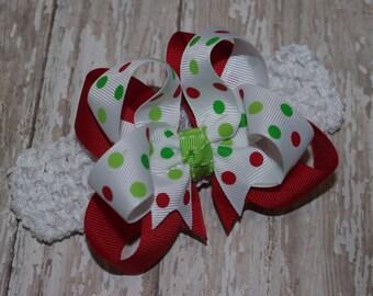 Christmas Dot Infant/Toddler Headband Hair Bow Christmas Headband Christmas Baby Headband Christmas Baby Bow