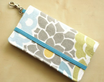 iPhone Wallet - Cell Phone Wallet - Blue Gray Floral Print - Smart Phone Case