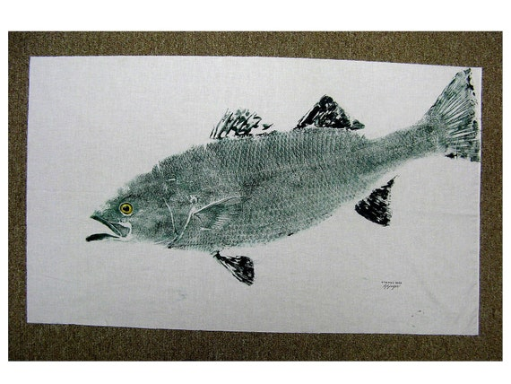 Spectacular Striped Bass ORIGINAL GYOTAKU Fish Art Rubbing on White cloth will dominate the room