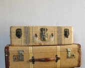 Vintage Leather Trimmed Suitcase : Herringbone and Stripes