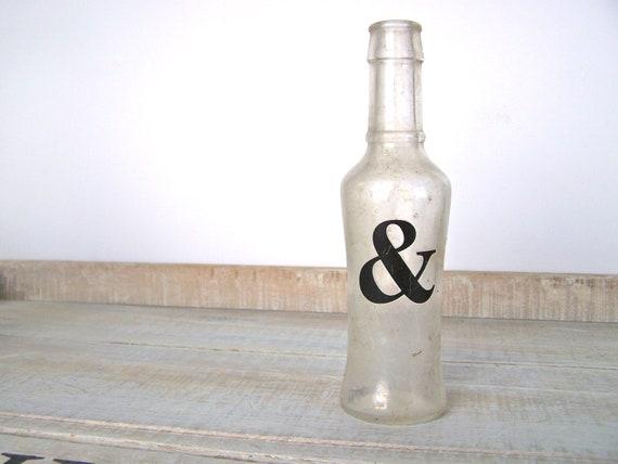 Ampersand Decor Urban Farmhouse & Vase Old Apothecary Bottle Rustic Wedding Shabby Cottage