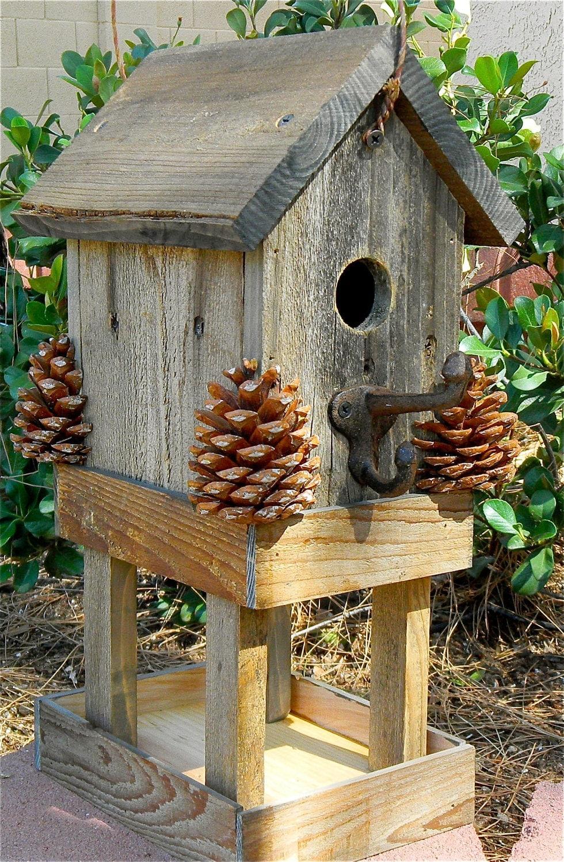 Birdhouse rustic bird feeder 276 - Birdhouse nightlight ...