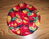 Red Apples Round Quilted Hot Pad or Pot Holder Cotton Fabric Double Insulated Trivet 9 Inches