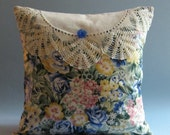 "Cottage Pillow Cover -- Summer Flowers -- Vintage Crochet Lace -- 14"" x 14"""