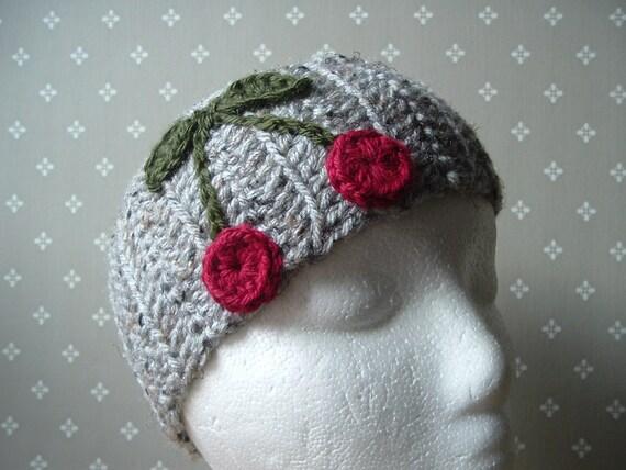 Red Cherries with Leaves Crochet Headwrap Headband Ear Warmer