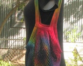 Regenbogen Tie Dye Baumwolle String Markt Netzbeutel mit Schulterriemen