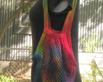 Rainbow  Tie Dye Cotton Mesh String Market Bag with Shoulder Straps