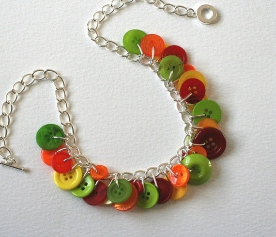 Button Necklace Fruity Bright Red Orange Green
