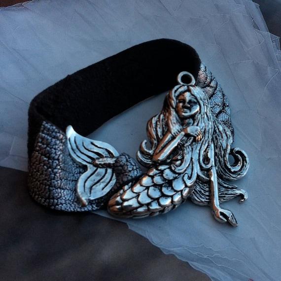 Silver Mermaid Leather Cuff