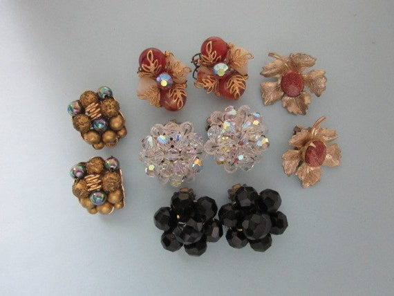 Vintage Clip Earrings DeStash 5 pairs