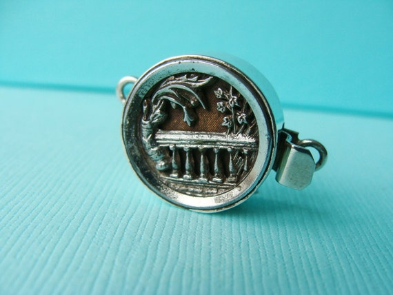 Vintage  Button Sterling Silver Jewelry Garden  Box Clasp Repurposed