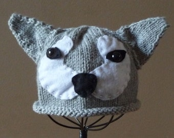 Handknit Infant Big Bad Wolf Hat Beanie Photo Prop Halloween Costume Little Red Riding Hood