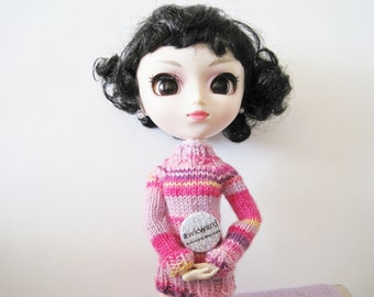 Crayon Sweater in Girly Pinks - Pink, Lavender, Purple, Yellow - Hand Knit Miniature Sweater for Pullip
