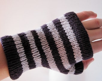 Stripey Glovelets -  DEEP PURPLE and GREY - hand knit fingerless gloves in cotton linen blend yarn - natural fibers - vegan friendly