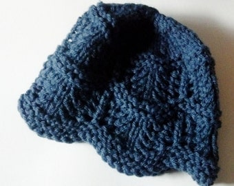 Lace Knit Petal Cap in Denim Blue - The Naturalist's Hat - Mori Girl Winter Accessories - Woolly Hat