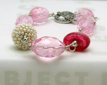 Pink Boho Beaded Bracelet, Statement Murano Glass Bracelet, Boutique Wearable Art, For Her Under 180