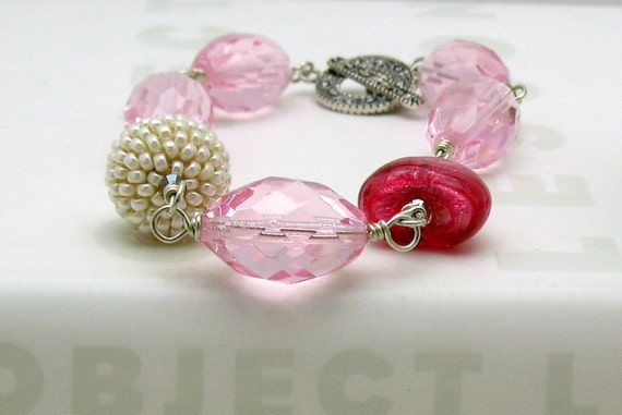 Pink Sterling Silver Boho Beaded Bracelet, Boutique Boho Berry Murano Glass Bracelet, for Her Under 200