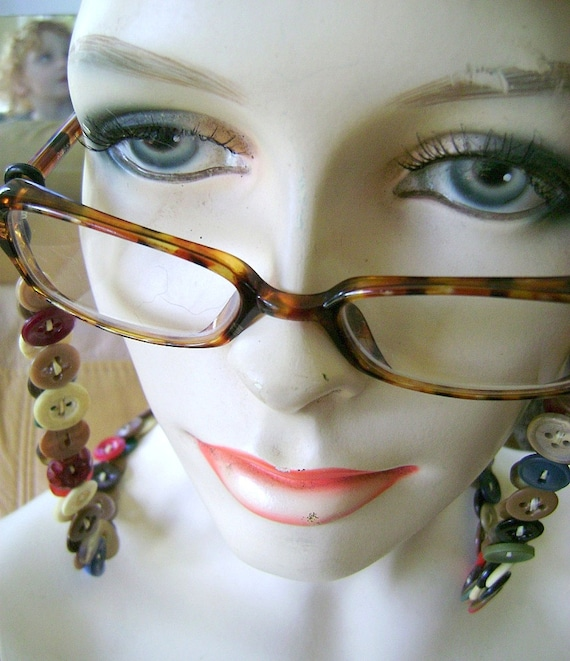 Eyeglass Chain in Vintage Buttons Brown Multicolor