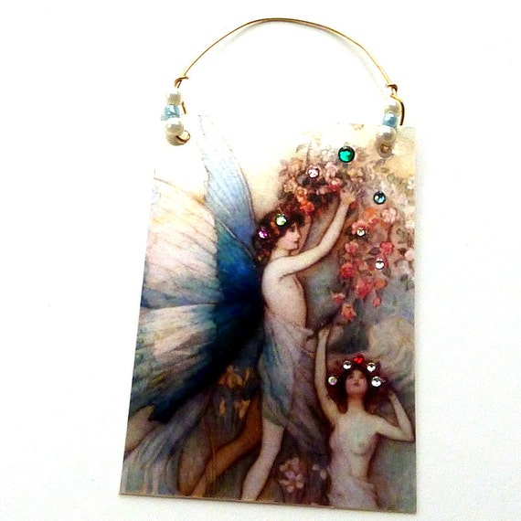 Aceo mixed collage card / Blue Flowers Fairies / OOAK hanger crystals
