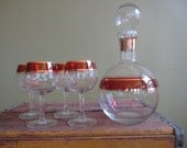 Mad Men Barware Decanter Wine Glass Set Ruby Red and 22K Gold