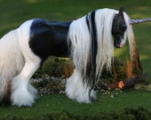 "OOAK Fantasy Equine Unicorn Horse Sculpture ""Halcyon"" by Quequinox Art"
