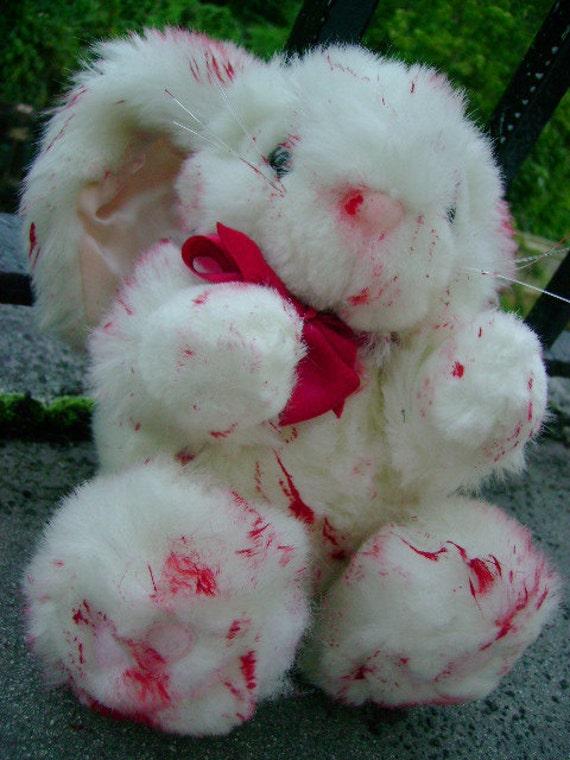 halloween prop blood splatter zombie survivor BUNNY RABBIT apocalypse red BLOOD splattered corpse bride horror gore