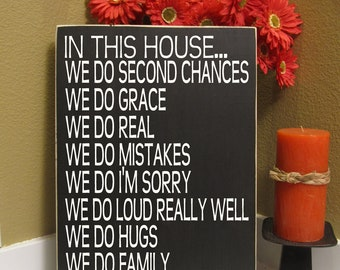 In this House - Subway Art, Family Rules - sign - personalized - we do family - we do love - we do real - grace - Style HM27