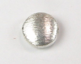 Small Brushed Sterling Silver Flat Coin Disc Bead 8mm (2 pieces)