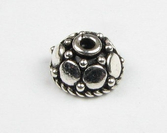 6mm Mirror Dots Bali Sterling Silver Bead Caps (4 beads)